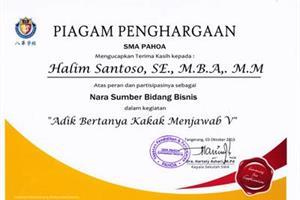 Piagam Penghargaan SMA PAHOA